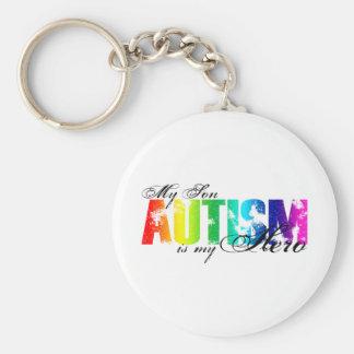 Min hjälte min Son - Autism Rund Nyckelring