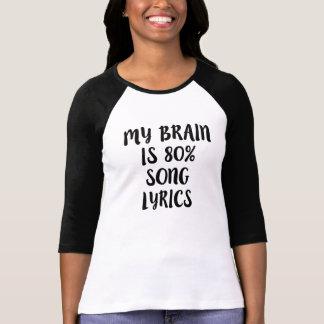 Min hjärna är roliga 80% sånglyrisk dikt t shirts