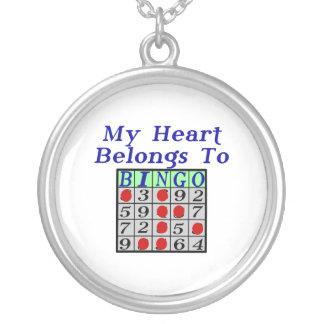 Min hjärta hör hemma till bingoen silverpläterat halsband