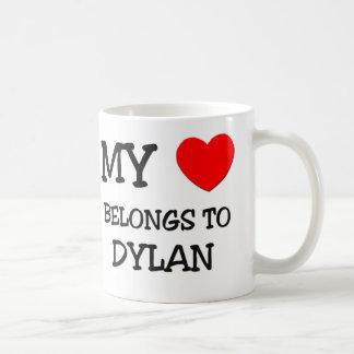 Min hjärta hör hemma till Dylan Vit Mugg