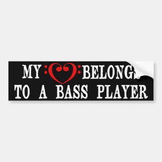 Min hjärta hör hemma till en bas- spelare bildekal
