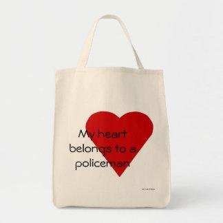Min hjärta hör hemma till en polis hänger lös mat tygkasse