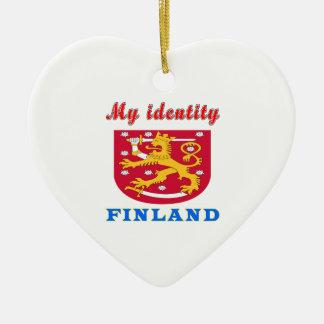 Min identitet Finland Hjärtformad Julgransprydnad I Keramik