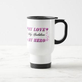 Min kärlek min soldat min hjältetravel mug resemugg
