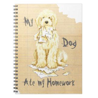 Min Komondor åt min läxa Anteckningsbok