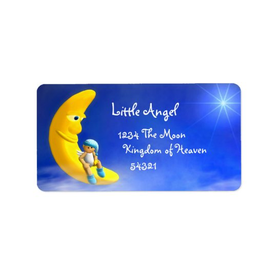 Min lite ängel: Måneetiketter Adressetikett