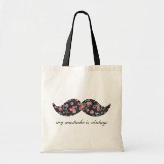 Min mustasch är blom- vintage budget tygkasse