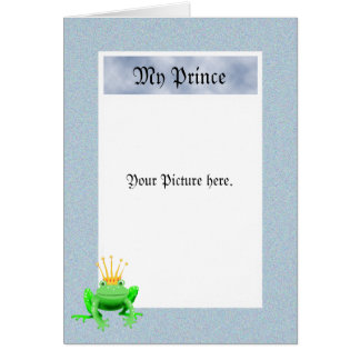 Min Prince, grön groda med kronan, beställnings- Hälsningskort