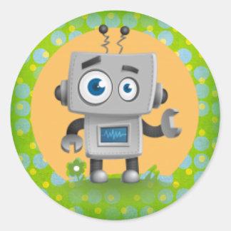 Min robotklistermärke som är glansig runt klistermärke