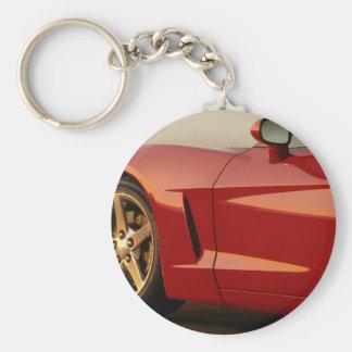 Min röda Corvette Rund Nyckelring