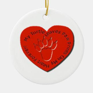 Min sköldpadda lämnar tass avtryck på min hjärta julgransprydnad keramik