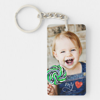 Min söta fotodubbla för kärlek sid Keychain