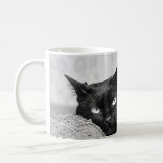 Min svart kattfotomugg vit mugg
