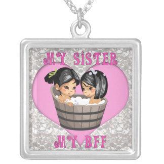 Min syster min BFF-hjärta på diamanthalsband Halsband Med Fyrkantigt Hängsmycke
