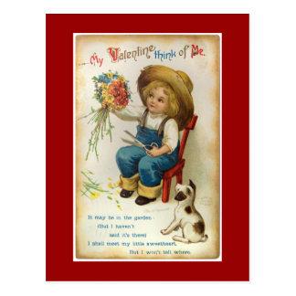 Min valentintänka av mig vintagevykort vykort