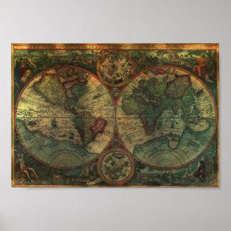 Mini- affisch för forntida karta