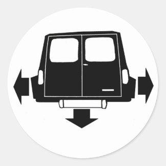Mini- Clubmangods & Skåpbil Låg och bred Runt Klistermärke