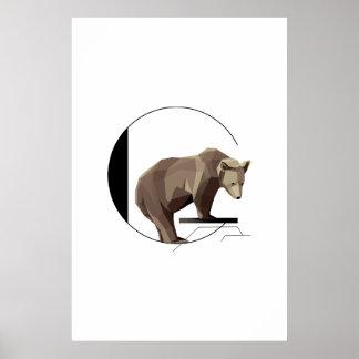 Minimalist affisch för G-Grizzlybjörn Poster
