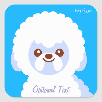 Minimalist Bichon Frise Kawaii hundtecknad Fyrkantigt Klistermärke