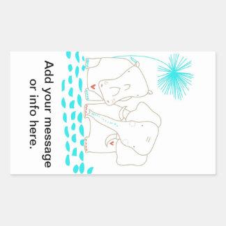 Minimalist elefant och flodhäst - Aqua och vit Rektangulärt Klistermärke