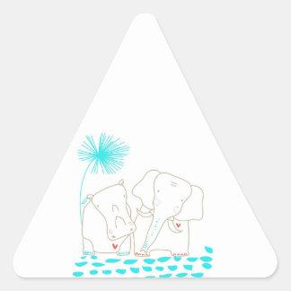 Minimalist elefant och flodhäst - Aqua och vit Triangelformat Klistermärke