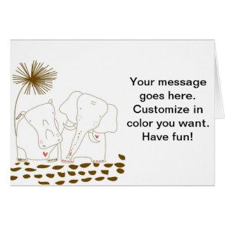 Minimalist elefant och flodhäst - brunt och vit hälsningskort