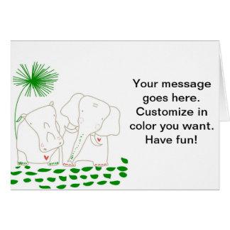 Minimalist elefant och flodhäst - grönt och vit hälsningskort