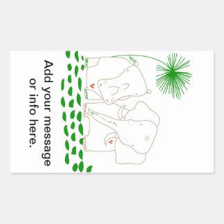 Minimalist elefant och flodhäst - grönt och vit rektangulärt klistermärke