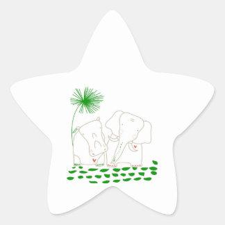 Minimalist elefant och flodhäst - grönt och vit stjärnformat klistermärke