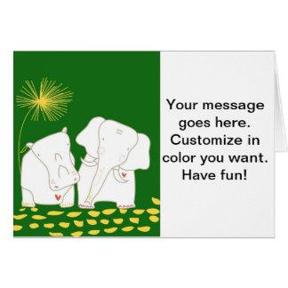 Minimalist elefant och flodhäst - gult och grönt hälsningskort