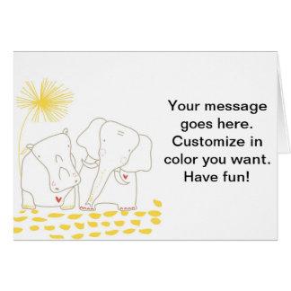 Minimalist elefant och flodhäst - gult och vit hälsningskort