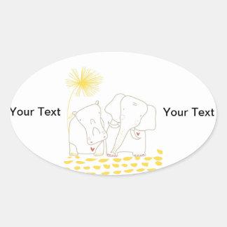 Minimalist elefant och flodhäst - gult och vit ovalt klistermärke