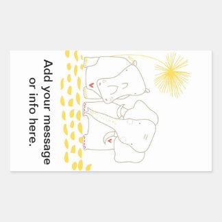 Minimalist elefant och flodhäst - gult och vit rektangulärt klistermärke