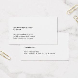 Minimalist enkel svart vitkonsulent visitkort