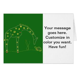 Minimalist giraff - grönt hälsningskort