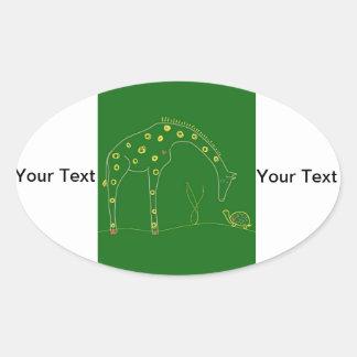 Minimalist giraff - grönt ovalt klistermärke