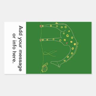 Minimalist giraff - grönt rektangulärt klistermärke