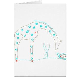 Minimalist giraff - vit och Aqua Hälsningskort