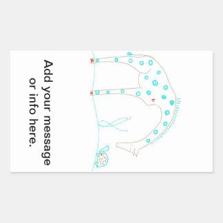 Minimalist giraff - vit och Aqua Rektangulärt Klistermärke