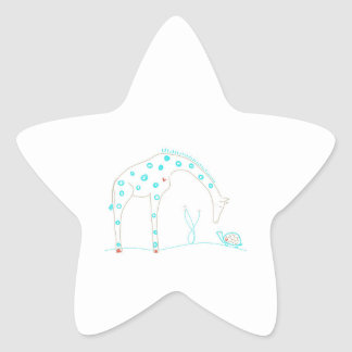 Minimalist giraff - vit och Aqua Stjärnformat Klistermärke