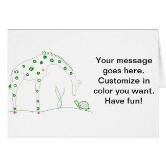 Minimalist giraff - vit och grönt hälsningskort