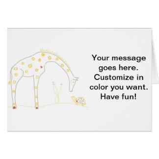 Minimalist giraff - vit och gult hälsningskort