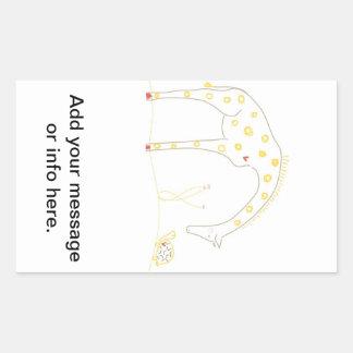 Minimalist giraff - vit och gult rektangulärt klistermärke