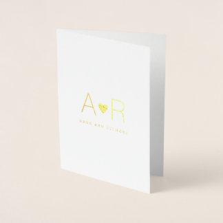 minimalist guld omkullkastar att gifta sig för folierat kort