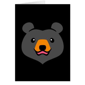 Minimalist gullig svart björntecknad hälsningskort