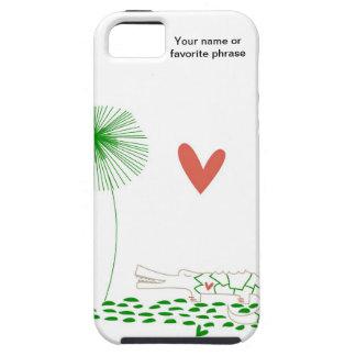 Minimalist krokodil med hjärta- och gröntflower.en iPhone 5 Case-Mate skydd