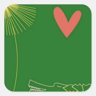 Minimalist krokodil med hjärta- och gultflower.en fyrkantigt klistermärke
