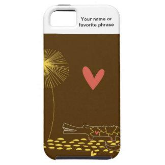 Minimalist krokodil med hjärta- och gultflower.en iPhone 5 Case-Mate skydd