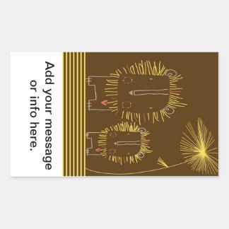 Minimalist lejont - brun bakgrund rektangulärt klistermärke