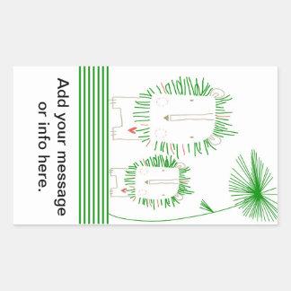 Minimalist lejont - grönt rektangulärt klistermärke